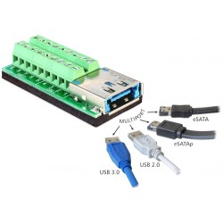 Terminal adapter Multiport USB3.0 + eSATAp 18pin Delock 65405