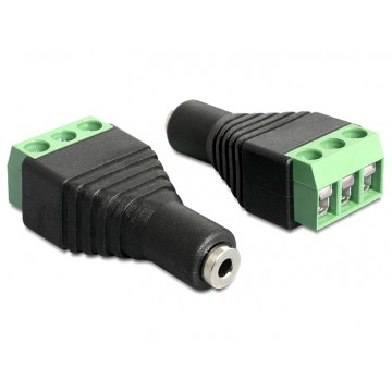 Delock Adapter Stereo jack female 2.5 mm Terminal Block 3pin