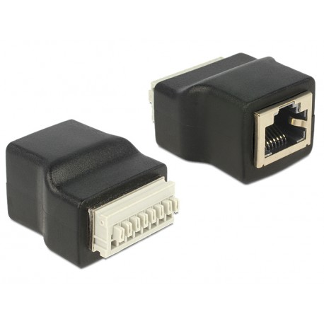 Delock Adapter RJ45 female Terminal Block with push button 8pin