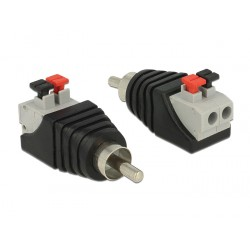 Delock Adapter RCA male Terminal Block with push button 2pin